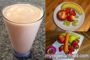 Banana, Apple and Strawberry Smoothie