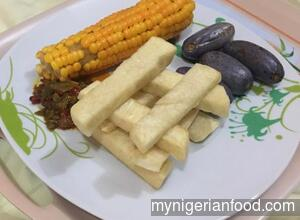 Fried Yam and Sauce